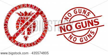 Grunge No Guns Seal, And Red Love Heart Collage For Forbid Opium Poppy. Red Round Seal Contains No G