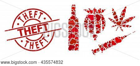 Scratched Theft Stamp Seal, And Red Love Heart Mosaic For Addiction Drugs. Red Round Stamp Seal Cont