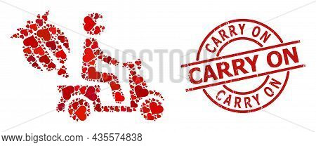 Grunge Carry On Stamp Seal, And Red Love Heart Collage For Opium Motorbike Delivery. Red Round Stamp