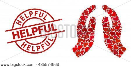 Distress Helpful Stamp Seal, And Red Love Heart Mosaic For Pray Hands. Red Round Stamp Contains Help