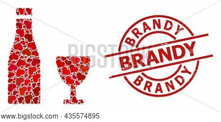 Scratched Brandy Seal, And Red Love Heart Mosaic For Alcohol Drinks. Red Round Badge Has Brandy Capt
