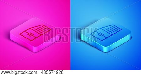 Isometric Line Container Icon Isolated On Pink And Blue Background. Crane Lifts A Container With Car