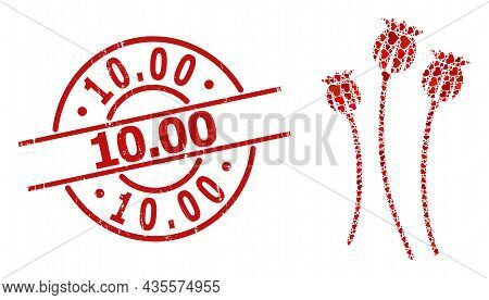 Grunge 10.00 Stamp Seal, And Red Love Heart Collage For Poppy Plants. Red Round Stamp Seal Includes
