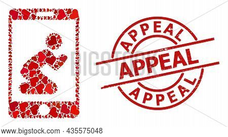Rubber Appeal Stamp Seal, And Red Love Heart Collage For Pray App. Red Round Seal Includes Appeal Ta