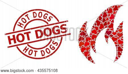 Rubber Hot Dogs Stamp Seal, And Red Love Heart Collage For Fire. Red Round Stamp Seal Has Hot Dogs T