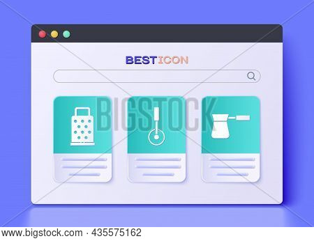 Set Pizza Knife, Grater And Coffee Turk Icon. Vector