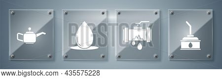 Set Canister For Motor Machine Oil, Broken Metal Pipe With Leaking Water, Oil Drop And Canister For