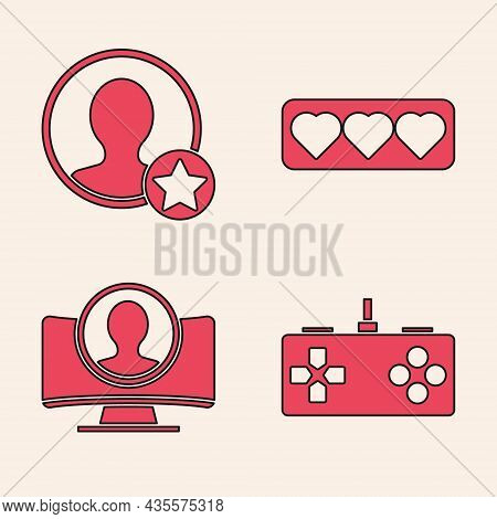 Set Gamepad, Premium Create Account Screen, Like And Heart And Create Account Screen Icon. Vector