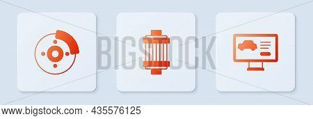 Set Car Air Filter, Brake Disk With Caliper And Diagnostics Condition Of Car. White Square Button. V
