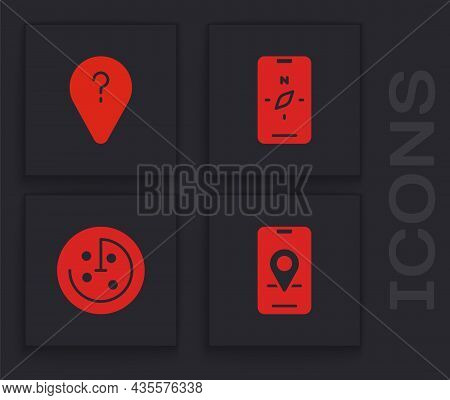 Set City Map Navigation, Unknown Route Point, Compass Mobile And Radar With Targets Monitor Icon. Ve