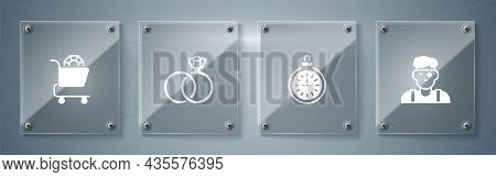Set Jeweler Man, Pocket Watch, Wedding Rings And Jewelry Online Shopping. Square Glass Panels. Vecto