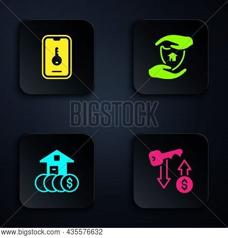 Set Rent Key, Online Real Estate, House With Dollar And Shield. Black Square Button. Vector
