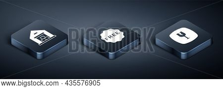 Set Isometric Warehouse, Fragile Broken Glass And Rice Tag With Free Icon. Vector
