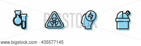 Set Line Head And Electric Symbol, Test Tube Flask, Triangle With Radiation And Astronomical Observa