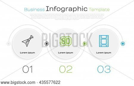Set Line Electric Bass Guitar, 80s Retro And Play Video. Business Infographic Template. Vector
