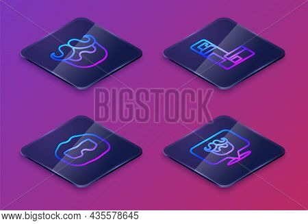 Set Isometric Line Mustache And Beard, Shaving Gel Foam And Barbershop. Blue Square Button. Vector