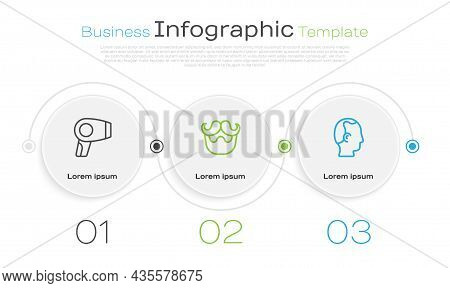 Set Line Hair Dryer, Mustache And Beard And Baldness. Business Infographic Template. Vector