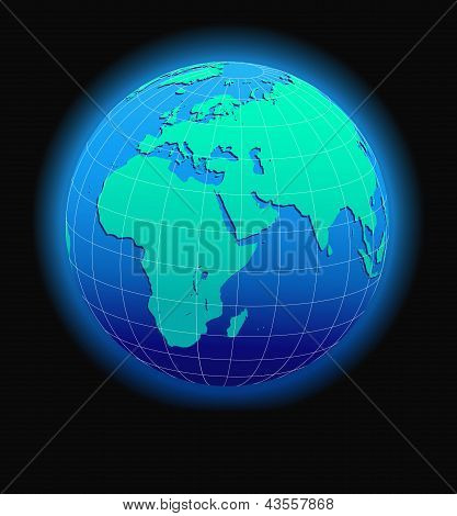 Africa, Arabia and India Global World in Space