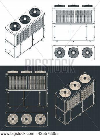 Outdoor Unit Of Industrial Air Conditioner Blueprint