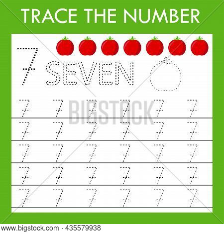 A Game Of Tracing The Outlines Of The Number Seven  With Tomatoes. Preschool Worksheet, Kids Activit