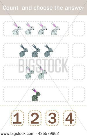 How Many Counting Game With Funny Forest Animal Rabbits. Preschool Worksheet, Kids Activity Sheet, P