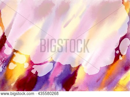 Multicolored Watercolor Stains Hand Drawn Abstract Background. Orange, Pink, Lilac, Yellow, Violet A