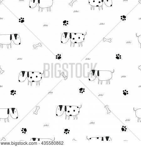 Seamless Pattern Dog With Bone And Footprint Cute Cartoon Animal Background Hand-draw In Child Style