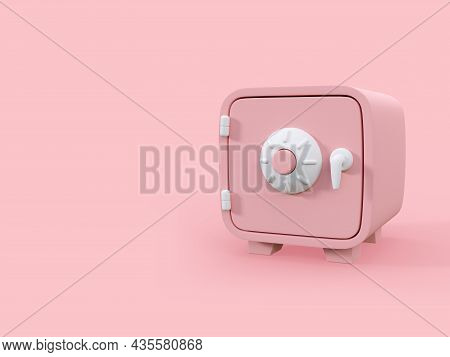 Cartoon Style Pink Money Safe On Pink Background With Copy Space 3d Render Illustration