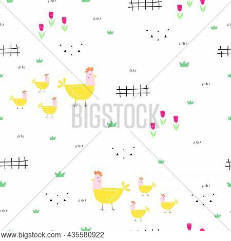 Seamless Pattern Outdoor Background With Chicken And Flower Cute Cartoon Animal Hand Draw In Child S