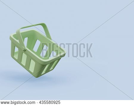 Minimal Style Green Shopping Basket On Blue Background With Copy Space 3d Render Illustration