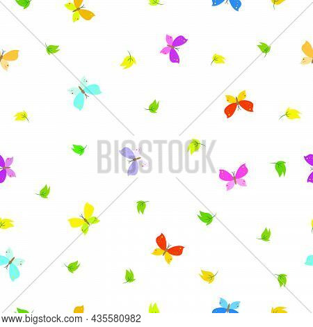 Colorful Butterfly Pattern Seamless Vector Background Use For Publications, Fabrics, Textiles