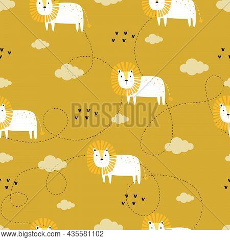 Seamless Lion And Cloud Pattern Cartoon Hand Drawn Animal Background In Child Style Designed For Pub