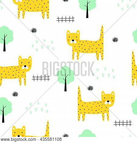 Leopard With Tree Seamless Pattern Cartoon Animal Background Hand-drawn In Child Style Design Used F