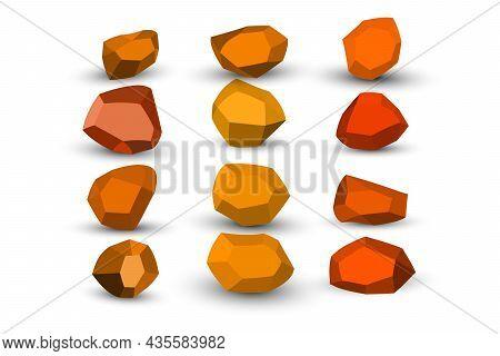 Cartoon Orange, Brown Stones. Rock Stone Isometric Set. Colorful Boulders, Natural Building Block Sh