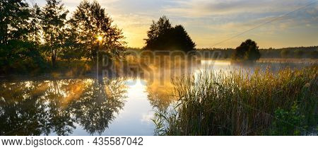 Autumn Mist Over Pond Evening Time Panorama