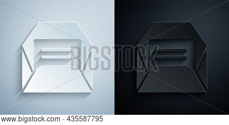 Paper Cut Envelope Icon Isolated On Grey And Black Background. Received Message Concept. New, Email