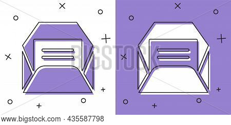 Set Envelope Icon Isolated On White And Purple Background. Received Message Concept. New, Email Inco