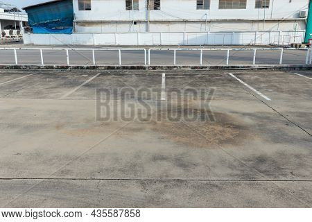 Car Park Empty. Outdoor Of Parking Garage With Car And Vacant Parking Lot In Parking Building. Some