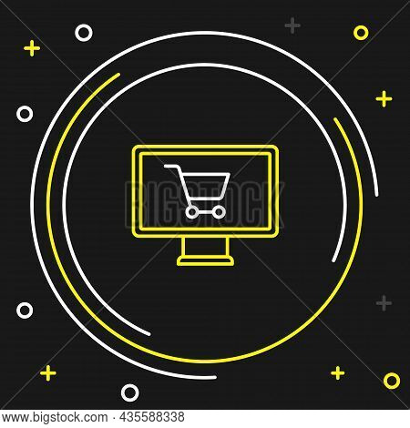 Line Shopping Cart On Monitor Icon Isolated On Black Background. Concept E-commerce, E-business, Onl