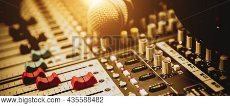 Close-up Sound Mixer With Microphone In Studio For Sound Control System And Audio Record Produce Or
