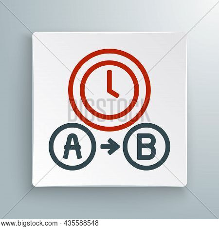 Line Taxi Waiting Time Icon Isolated On White Background. Car Deadline, Schedule Ride. Colorful Outl