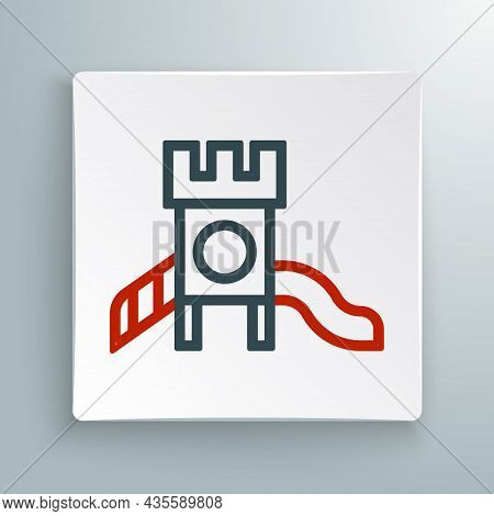 Line Slide Playground Icon Isolated On White Background. Childrens Slide. Colorful Outline Concept.