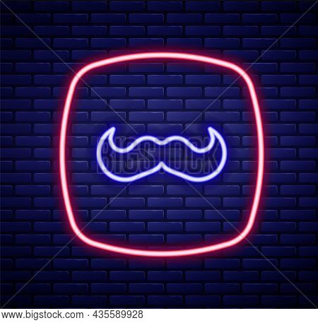 Glowing Neon Line Mustache Icon Isolated On Brick Wall Background. Barbershop Symbol. Facial Hair St