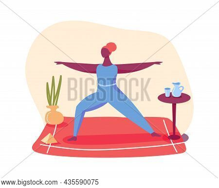 Yoga Concept At Home. Woman Doing Stretching. Vector Fitness And Sport Yoga, Healthy Body Workout Tr