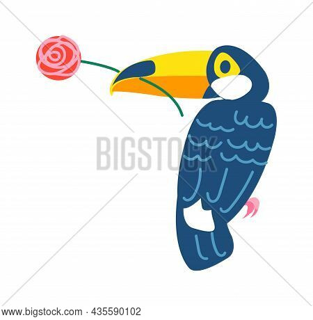 Exotic Tropical Parrot Bird, Animal Isolated On White. Vector Nature Animal Illustration, Parrot Tro