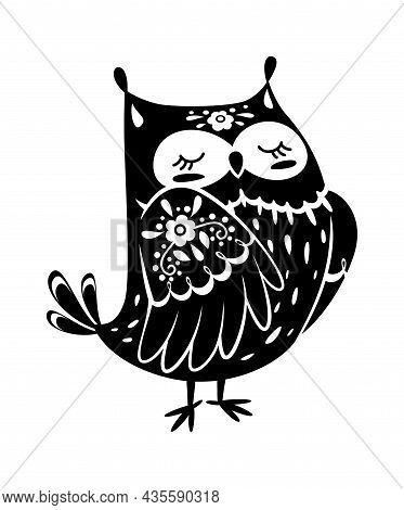 Cartoon Owl In Black Color, Mysterious Animal. Owl Bird Spooky Silhouette To Holiday Halloween, Cart