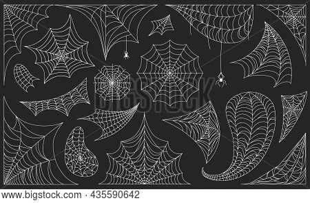 Halloween Cobwebs With Spiders, Black Spiderweb Frames And Borders. Scary Cobweb Frame Or Corner Dec