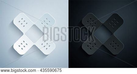 Paper Cut Crossed Bandage Plaster Icon Isolated On Grey And Black Background. Medical Plaster, Adhes