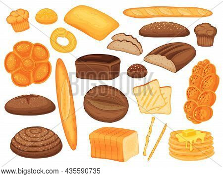 Cartoon Bakery Products, Bread Loaf, Buns And Pastry. Baguette, Muffins, Pancakes, Whole Wheat Bread