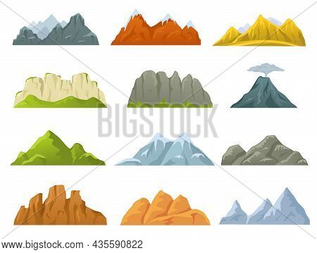 Cartoon Mountains Ridges, Rocky Cliffs, Snowy Peaks And Hills. Stone Cliff, Volcano, Hill, Mountain